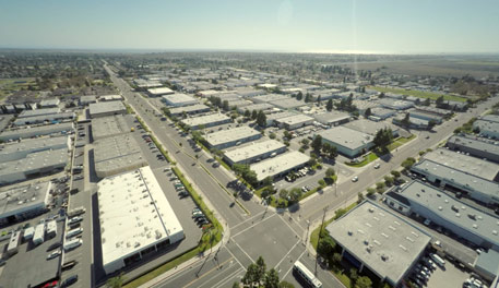Drone shot over industrial area