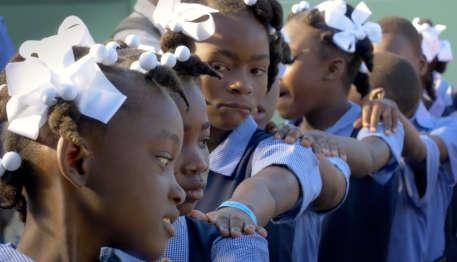 Haitian schoolchildren in uniforms