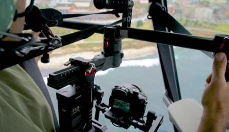Ronin gimbal stabilizing images from helicopter.