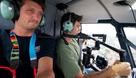 How to shoot video from inside a helicopter.
