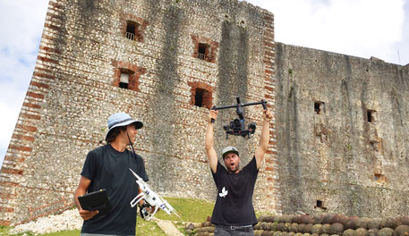 TAR crew in Haiti on top of the Citadel with a drone and Ronin.