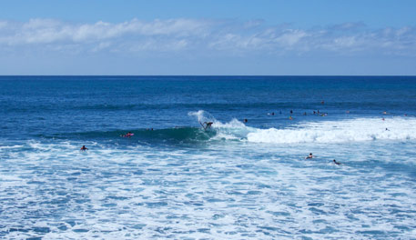 Surfing at the Hurley Lowers Pro, part of TAR Production's Virtual Reality experience of the event.