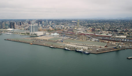 Drone shot over downtown San Diego Bay